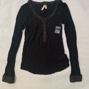 New! Free People We The Free Black Henley Shirt L
